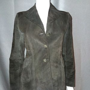 Dark Brown BANANA REPUBLIC Fitted suede jacket XS